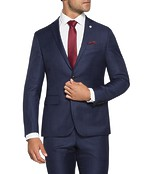 Slim Fit Suit Jacket Ink with Red Check