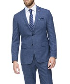 Slim Fit Suit Jacket Blue Textured