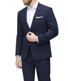 Slim Fit Suit Jacket Navy Chalk Stripe