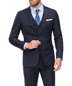 Slim Fit Suit Jacket Navy Blue Window Pane Check