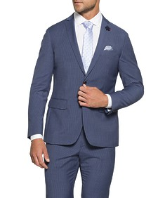 Slim Fit Suit Jacket Sky Blue Vertical Stripe