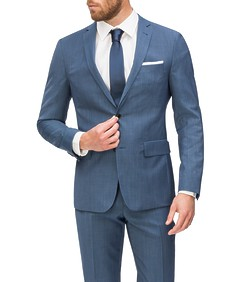 Slim Fit Suit Jacket Sky Blue Mini Check