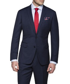 Slim Fit Suit Jacket Navy Birdseye