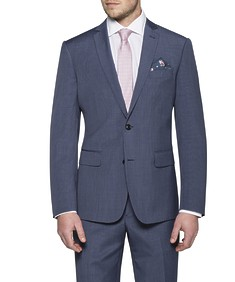Slim Fit Suit Jacket Navy Blue Small Check