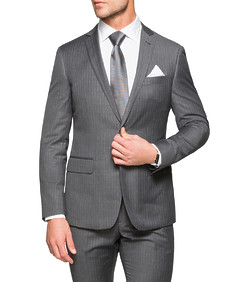 Black Label Slim Fit Suit Jacket Grey Pin Stripe