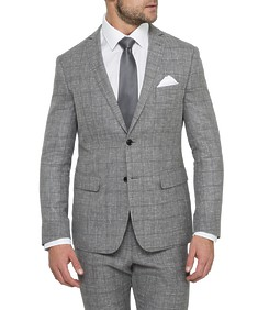 Black Label Slim Fit Suit Jacket Grey Linen