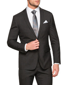 Slim Fit Suit Jacket Charcoal Pin Stripe