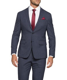 Slim Fit Commuter Suit Jacket Navy Small Check