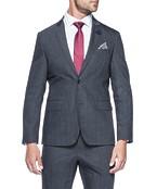 Slim Fit Suit Jacket Charcoal Textured