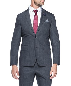 Slim Fit Suit Jacket Charcoal Textured