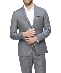 Slim Fit Suit Jacket Grey Birdseye