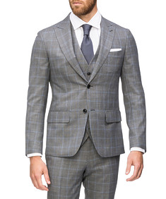 Super Slim Fit Suit Jacket Grey Window Check