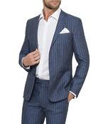 Black Label Super Slim Suit Jacket Ink Linen Stripe