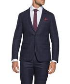 Super Slim Fit Suit Jacket Ink Plaid Check