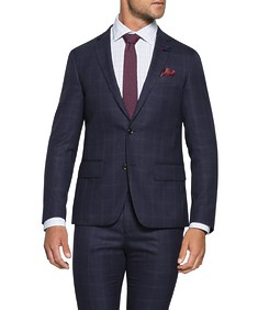 Super Slim Fit Suit Jacket Ink Plaid Check