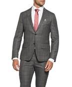 Super Slim Fit Suit Jacket Charcoal Window Check