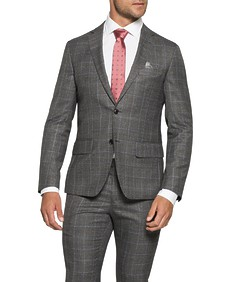 Super Slim Fit Suit Jacket Charcoal Window Check