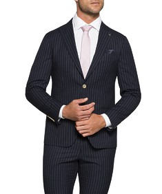 Super Slim Fit Suit Jacket Navy Pin Stripe