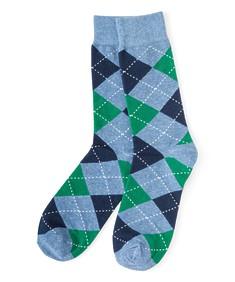 Socks Pair Blue Argyle