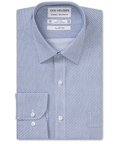 Classic Relaxed Fit Shirt Indigo Diamond Print