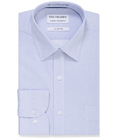 Classic Relaxed Fit Shirt Blue Self Print
