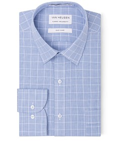 Classic Relaxed Fit Shirt Blue Large Window Check