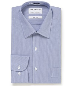 Classic Relaxed Fit Shirt Navy Vertical Stripes