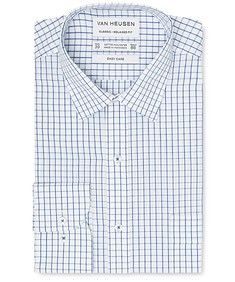 Classic Relaxed Fit Shirt Navy Window Checks