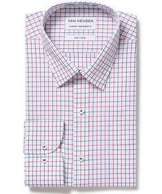 Classic Relaxed Fit Shirt Red Blue Window Check