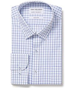 Classic Relaxed Fit Shirt White and Blue Window Check