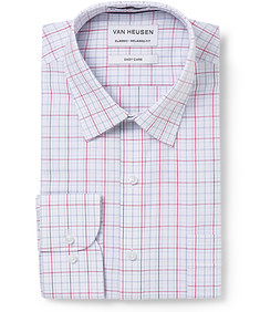 Men's Classic Fit Shirt Red White Blue Check