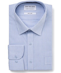 Classic Relaxed Fit Shirt Navy Blue Plaid