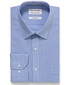 Classic Relaxed Fit Shirt Blue Mini Check