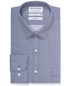 Classic Relaxed Fit Shirt Navy Birdseye Print