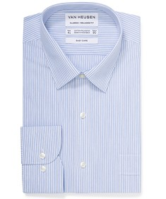Classic Relaxed Fit Shirt Navy Vertical Contrast Stripe