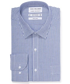 Classic Relaxed Fit Shirt Navy Border Check