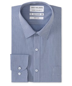 Classic Relaxed Fit Shirt Navy Stripe with Diamond Print