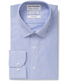 Classic Relaxed Fit Shirt Blue Small Line Check