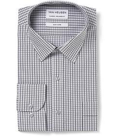Men's Classic Fit Shirt Black Grey Check