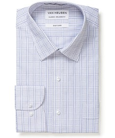 Classic Relaxed Fit Shirt Navy White Grid Check
