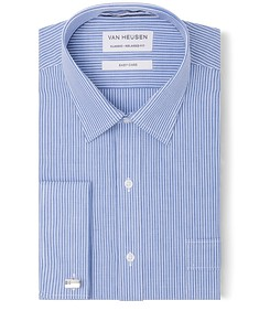 Classic Relaxed Fit Shirt Navy Dual Vertical Stripe