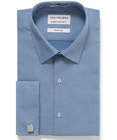 Classic Relaxed Fit Shirt Navy Poplin French Cuff