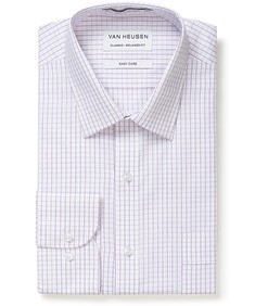 Classic Relaxed Fit Shirt White with Lilac Check