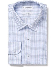 Men's Classic Fit Shirt Blue Tattersall Check