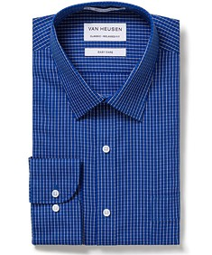 Men's Classic Fit Shirt Navy Window Check