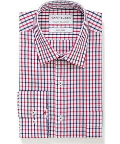 Classic Relaxed Fit Shirt Red and Navy Check