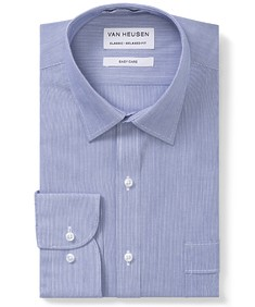 Classic Relaxed Fit Shirt Deep Blue Vertical Stripe