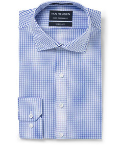 Euro Tailored Fit Shirt Blue Tone Mini Check