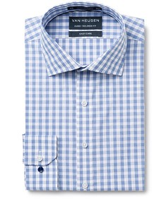 Euro Tailored Fit Shirt Navy Square Check