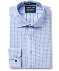 Euro Tailored Fit Shirt Blue Connect Check